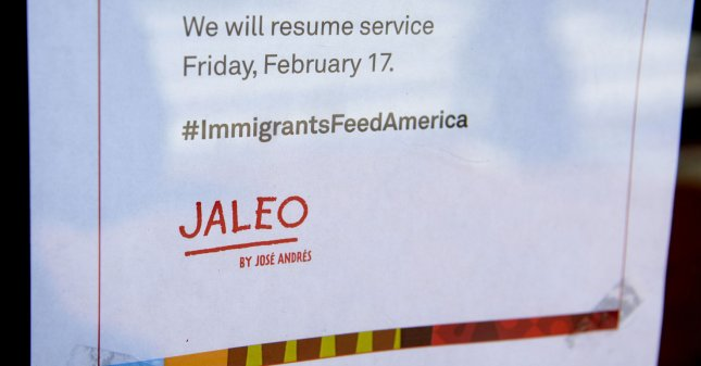A notice at the Spanish restaurant Jaleo advises patrons that it is closed in solidarity with the A Day Without Immigrants protest on Thursday in Washington, D.C. Businesses across the country will close as part of a boycott and strike to highlight contributions to U.S. culture and business by immigrants. Photo by Mike Theiler/UPI