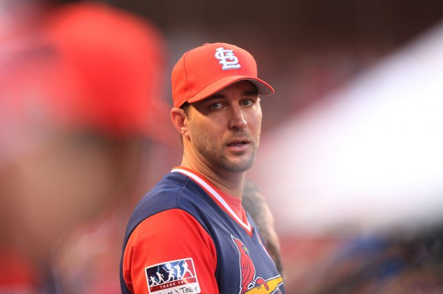 St. Louis Cardinals injured pitcher Adam Wainwright watches the action from the dugout against the Tampa Bay Rays at Busch Stadium in St. Louis on August 25, 2017. File photo by Bill Greenblatt/UPI