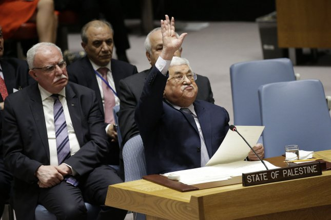Palestinian President Mahmoud Abbas speaks at a Security Council meeting on the situation in the Middle East in the Security Council Chamber at the United Nations Headquarters in New York City on Monday. Photo by John Angelillo/UPI