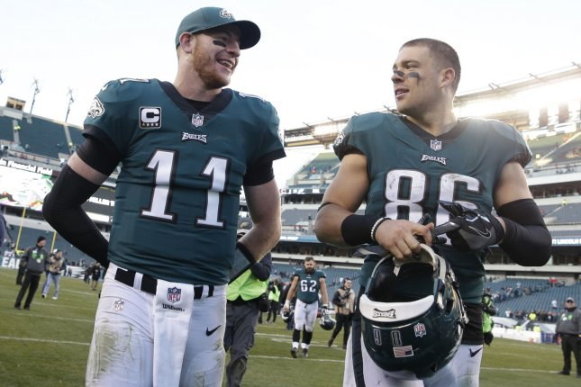 Philadelphia Eagles quarterback Carson Wentz and Zach Ertz smile. File photo by John Angelillo/UPI