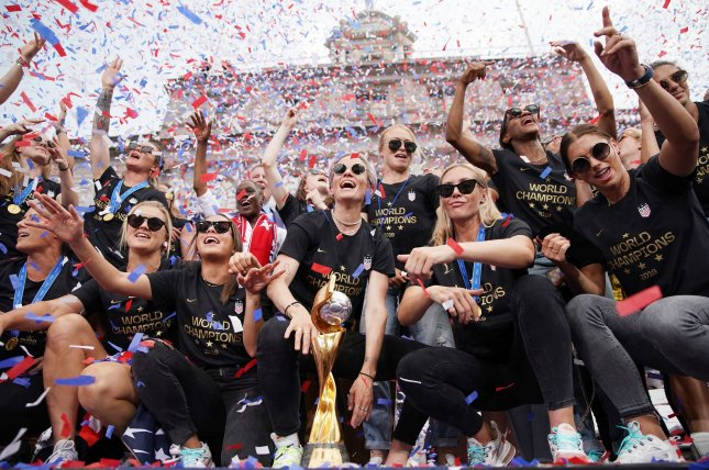 The U.S. Women's Soccer team, shown here celebrating in New York City last week, was given $529,000 by Procter & Gamble, the company announced Sunday, in response for their call for equal pay with the men's team. Photo by John Angelillo/UPI