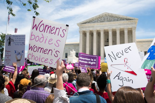 Abortion rights activists demonstrate outside the U.S. Supreme Court on May 21 during a Stop Abortion Bans Day of Action rally. File Photo by Kevin Dietsch/UPI