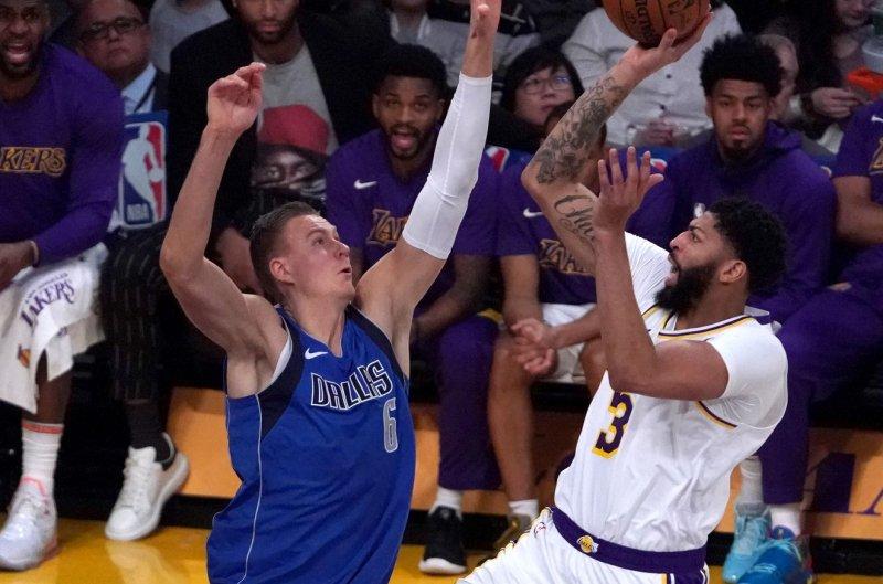 Dallas Mavericks big man Kristaps Porzingis (L) averaged 30.5 points and 9.5 rebounds per game during the NBA's seeding games. File Photo by Jon SooHoo/UPI