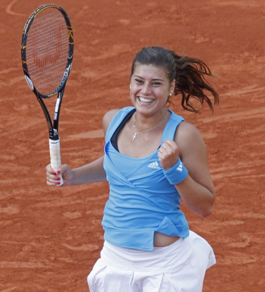 Romanian Sorana Cirstea. shown after a win last year's French Open, moved to the quarterfinals of the Estoril Open in Portugal with a victory Wednesday. (UPI Photo/ David Silpa)