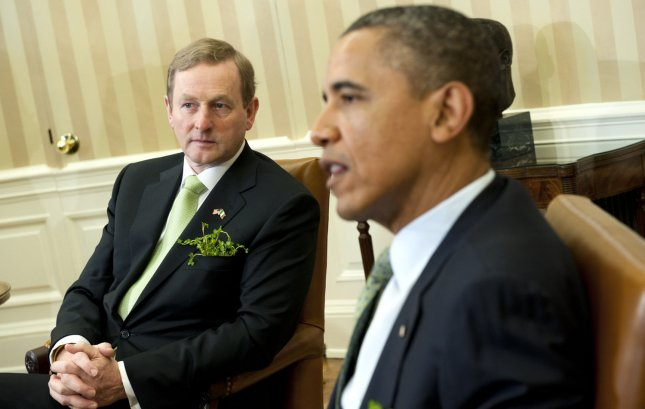 U.S. President Barack Obama meets with the Irish Prime Minister Enda Kenny in the Oval Office at the White House Tuesday. UPI/Kevin Dietsch
