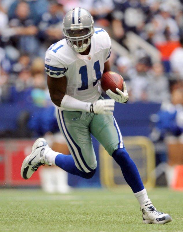 Dallas Cowboys' Roy Williams, shown after making a catch Nov. 27, 2008. (UPI Photo/Ian Halperin)