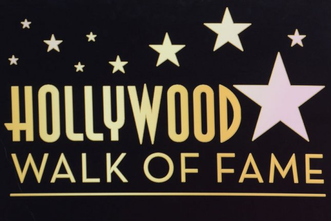 The Hollywood Walk of Fame logo as seen at singer Shirley Caesar's ceremony on Tuesday. Photo by Jim Ruymen/UPI
