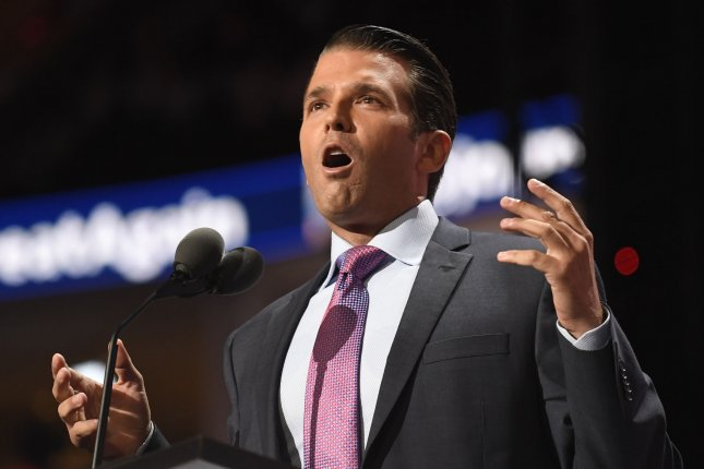 Donald Trump Jr. speaks at the Republican National Convention at Quicken Loans Arena in Cleveland, Ohio on Tuesday. He and Trump's youngest daughter, Tiffany Trump, spoke glowingly of a supportive father who has helped them succeed in life. Photo by Mike Theiler/UPI