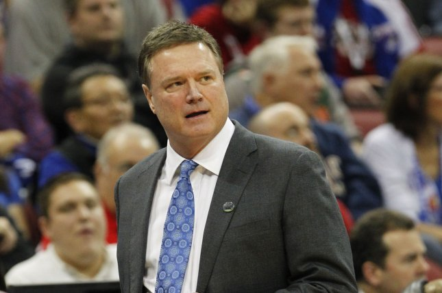 The Kansas Jayhawks and head basketball coach Bill Self lead the power rankings for the NCAA Tournament Sweet 16 teams. Photo by John Sommers II/UPI