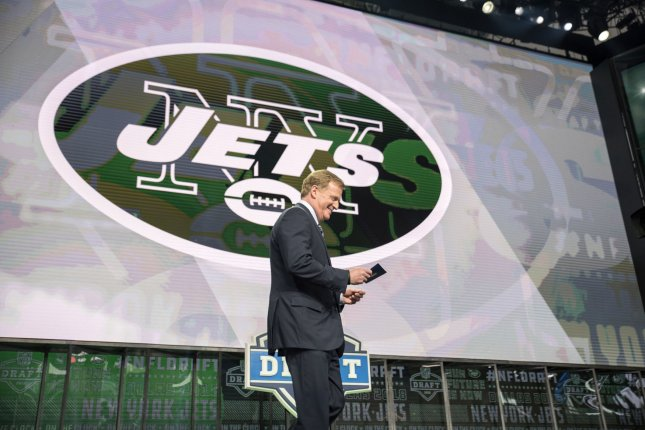 NFL commissioner Roger Goodell is booed as he takes the stage to announce the New York Jets' pick during the 2018 NFL Draft in April. Photo by Sergio Flores/UPI