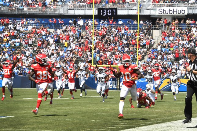 Kansas City Chiefs wide receiver Tyreek Hill (10) returns a punt for a touchdown against the Los Angeles Chargers in first quarter on Sunday at StubHub Center in Carson, Calif. Photo by Jon SooHoo/UPI