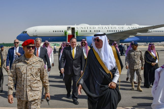 U.S. Secretary of State Mike Pompeo arrived in Riyadh Tuesday to meet with the royal family and discuss the disappearance of Jamal Khashoggi. Photo by U.S. Department of State/UPI