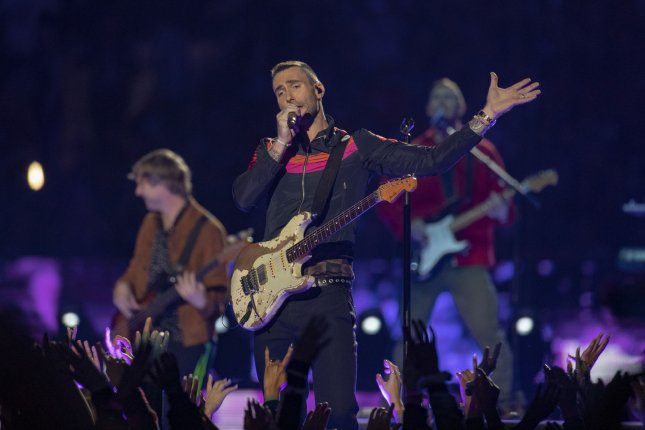 Adam Levine of Maroon 5 performs during the Pepsi Super Bowl LIII Halftime Show. Photo by Tasos Katopodis/UPI