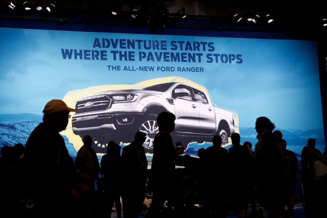 A large sign shows the 2019 Ford Ranger at the 2018 SEMA Show in Las Vegas, Nev. File Photo by James Atoa/UPI