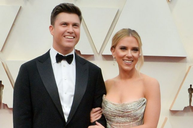 Colin Jost (L) and Scarlett Johansson have become husband and wife, Meals on Wheels has announced. File Photo by Jim Ruymen/UPI