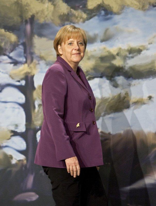 German Chancellor Angela Merkel, pictured in Huntsville, Ontario, June 25, 2010. UPI/Heinz Ruckemann.