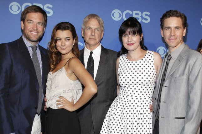 Michael Weatherly, Cote de Pablo, Mark Harmon, Pauley Perrette and Brian Dietzen arrive on the red carpet at the 2013 CBS Upfront Presentation in New York City on May 15, 2013. Photo by John Angelillo/UPI