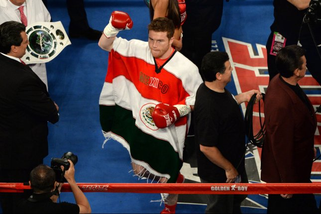 Canelo Alvarez waves to the crowd prior to fight with Amir Khan at T-Mobile Arena in Las Vegas on May 7, 2016. Photo by Jon SooHoo/UPI