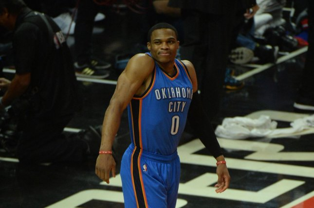 Oklahoma City Thunder guard Russell Westbrook loosens up before tip off against the Los Angeles Clippers at Staples Center in Los Angeles, November 2, 2016. Photo by Jon SooHoo/ UPI.