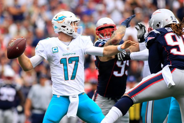 Miami Dolphins quarterback Ryan Tannehill (17) throws a pass in the first half against the New England Patriots at Gillette Stadium in Foxborough, Massachusetts on September 18, 2016. Tannehill has looked great according to running back Jay Ajayi. File photo by Matthew Healey/ UPI