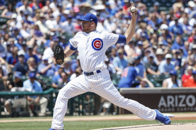 Chicago Cubs pitcher Mike Montgomery delivers against the Milwaukee Brewers in the first inning at Wrigley Field on July 6, 2017 in Chicago. File photo by Kamil Krzaczynski/UPI