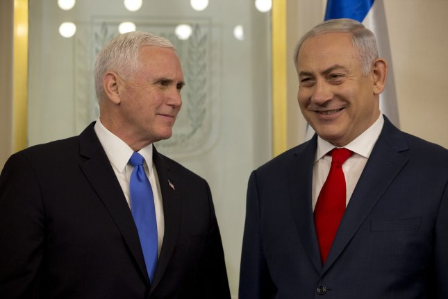 U.S. Vice President Mike Pence and Israeli Prime Minister Benjamin Netanyahu meet in Jerusalem on January 22, where Pence announced the U.S. embassy would move from Tel Aviv to Jerusalem in 2019. State Department officials said Friday the move will begin in May 2018. Pool Photo by Ariel Schalit/UPI