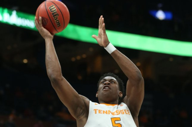 Tennessee Vols senior forward Admiral Schofield scored 24 points against South Carolina in the Vols' 92-70 win Tuesday night. File photo by Bill Greenblatt/UPI