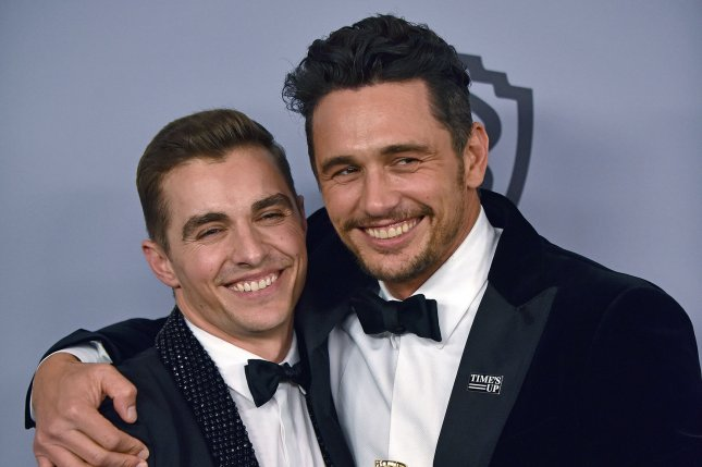 James Franco (R), pictured with Dave Franco, plays Vincent and Frankie Martino on The Deuce. File Photo by Christine Chew/UPI