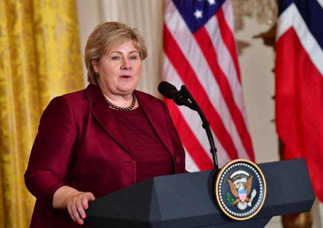 Norwegian Prime Minister Erna Solberg over the weekend lifted COVID-19 restrictions in an effort to open up the country, prompting the U.S. Centers for Disease Control and Prevention to place it under the nation's highest travel advisory. File Photo by Kevin Dietsch/UPI