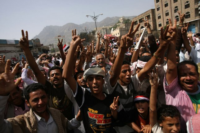 Tribesmen celebrate in Yemen's second-largest city Taez (Taiz), a flashpoint of anti-regime demonstrations south of the capital Sanaa, on June 5, 2011, as hundreds of people took to the streets to celebrate the departure of long term President Ali Abdullah Saleh, wounded in a blast June 3, and who left for treatment in Saudi Arabia. UPI\Mohammad Abdullah