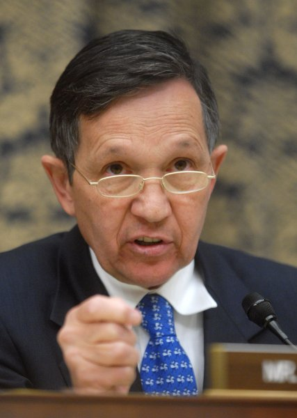 Rep. Dennis Kucinich (D-OH) in Washington on October 7, 2008. Kucinich is one of the House members who are set to sue Obama over Libya. (UPI Photo/Kevin Dietsch)
