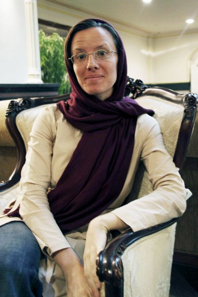 American hiker Sarah Shourd is seen at Mehrabad airport in Tehran Sept. 14, 2010, after she was released from an Iranian prison. UPI/Press TV