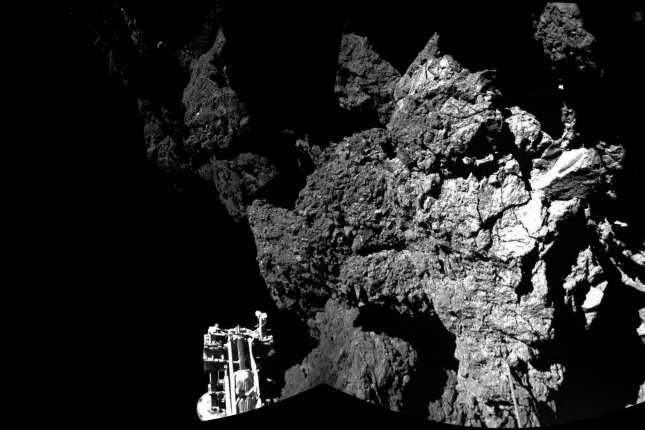 The Philae lander is still asleep, but ESA scientists are confident the lander will eventually wake up. Photo by UPI/ESA/Rosetta/CIVA.