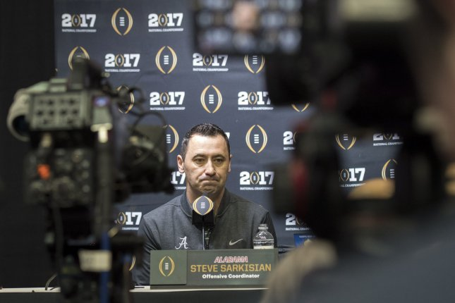 Former Alabama Crimson Tide offensive coordinator Steve Sarkisian, now in the same position for the Atlanta Falcons. Kevin Dietsch/UPI