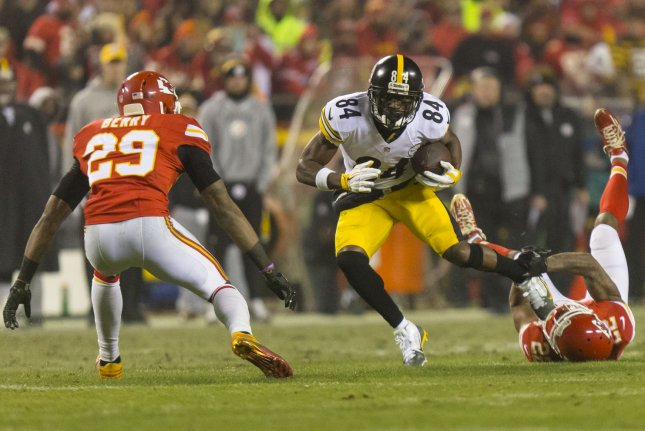 Kansas City Chiefs cornerback Marcus Peters makes a tackle at the feet of Pittsburgh Steelers wide receiver Antonio Brown (84) in the second quarter during the NFL Playoffs at Arrowhead Stadium in Kansas City on January 15, 2017. File photo by Kyle Rivas/UPI
