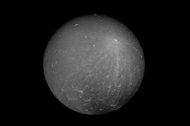 Cassini captured this striking view of Saturn's moon Dione on July 23, 2012. Photo by NASA/ESA/UPI