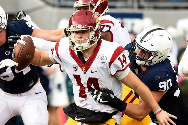 USC Trojans quarterback Sam Darnold (14) is caught from behind for no gain by Penn State Nittany Lions defensive end Garrett Sickels (90) in the second quarter during the 2017 Rose Bowl on January 2, 2017 in Pasadena, California. Photo by Juan Ocampo/UPI