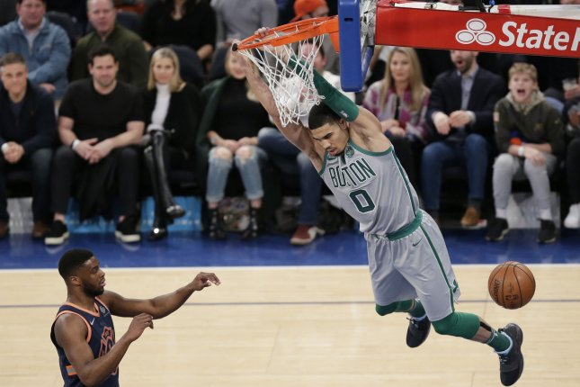 Boston Celtics forward Jayson Tatum (0) had a big-time third quarter block of Kevin Durant during the Celtics' win against the Golden State Warriors Tuesday in Oakland. File Photo by John Angelillo/UPI