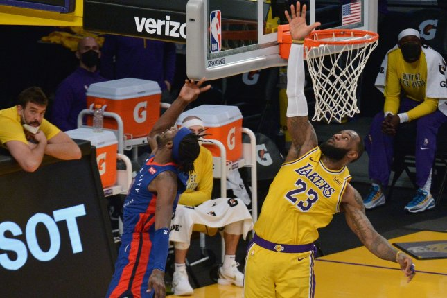 Los Angeles Lakers forward LeBron James (23) has 97 career triple-doubles after he logged another in a win on Monday in Los Angeles. File Photo by Jim Ruymen/UPI