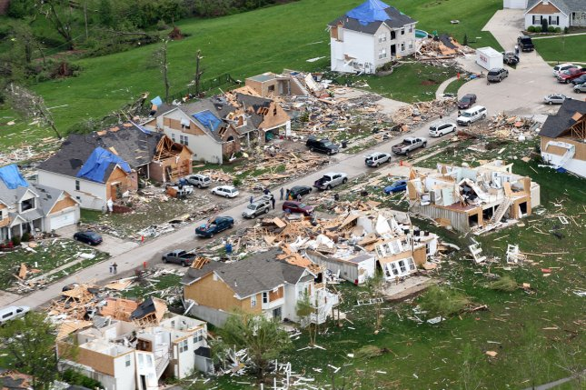 More than 700 homes were damaged or destroyed, as seen in St. Louis, Mo., on April 23, 2011, after an F-4 tornado swept through the area. File Photo by Bill Greenblatt/UPI