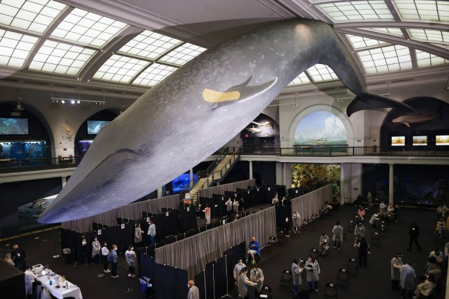 A new study suggests that New York City has vaccine deserts, where access to COVID-19 vaccination sites, such as the one pictured at the American Museum of Natural History, is limited, particularly for those living in poverty. File Photo by John Angelillo/UPI