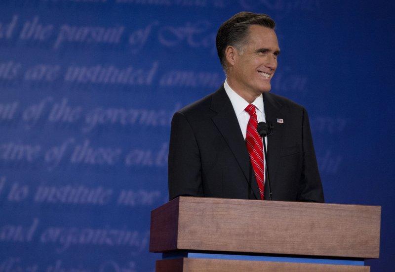 Republican Presidential nominee Mitt Romney speaks at the first Presidential debate at the University of Denver's Ritchie Center on October 3, 2012 in Denver. UPI/Gary C. Caskey