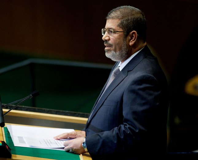 Egypt President Mohamed Morsi said counterrevolution forces are trying to sabotage the country and are hampering Egypt's economic development. Sept. 26 file photo. UPI/Monika Graff