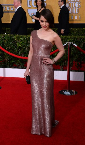 Actress Emilia Clarke arrives for the 20th annual SAG Awards held at the Shrine Auditorium in Los Angeles on January 18, 2014. the Screen Actors Guild Awards are telecast live on TNT. UPI/Jim Ruymen