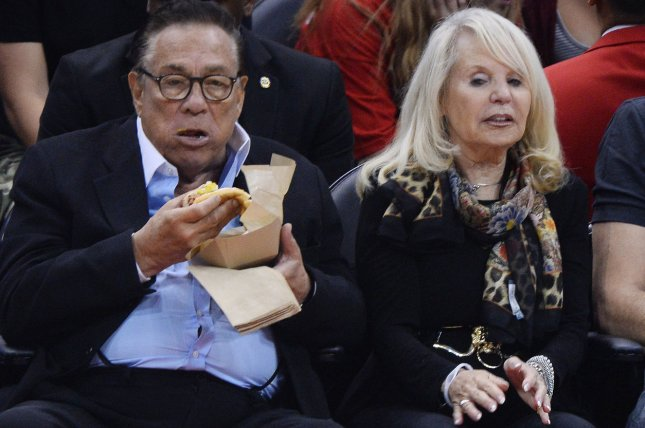 Soon-to-be-former Los Angeles Clippers owner Donald Sterling sits court side with his wife, Shelly Sterling UPI/Jim Ruymen/file photo