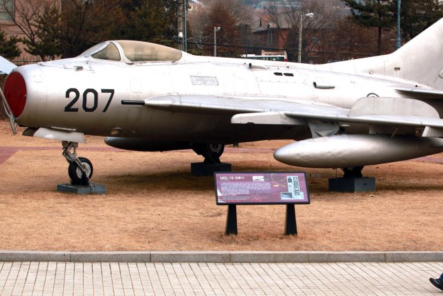 The Soviet MIG-19 that a North Korean pilot defected to South Korea with in 1983 is on display at the War Memorial of Korea in Seoul on January 28, 2013. (UPI/Stephen Shaver)