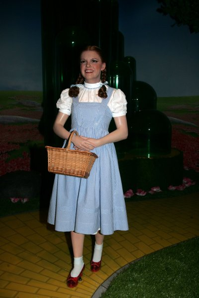 The Wizard of Oz 4D cinema experience is unveiled at Madame Tussauds in New York in 2010. Dorothy's blue and white dress sold for $1.56 million at auction Monday. File Photo by Laura Cavanaugh/UPI.