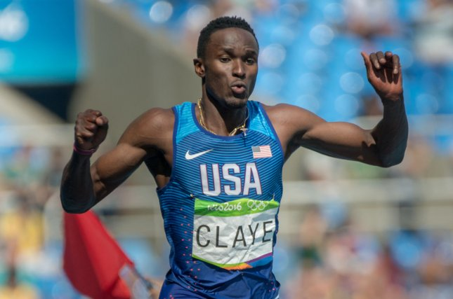 Will Claye (USA) during the Men's Triple Jump final in the Olympic Stadium at the 2016 Rio Summer Olympics in Rio de Janeiro, Brazil, on August 16, 2016. Claye took home the silver medal and teammate Christian Taylor the gold. Following the event, Claye proposed to his girlfriend, athlete Queen Harrison. File Photo by Richard Ellis/UPI..