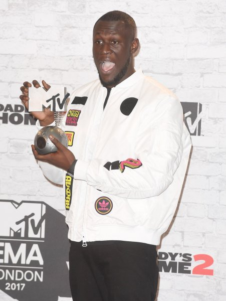 British singer Stormzy attends the press room of MTV European Music Awards at the SSE Arena in London on November 12, 2017. On Wednesday, the British rapper took top awards at the 2018 Brit Awards. File Photo by Rune Hellestad/UPI