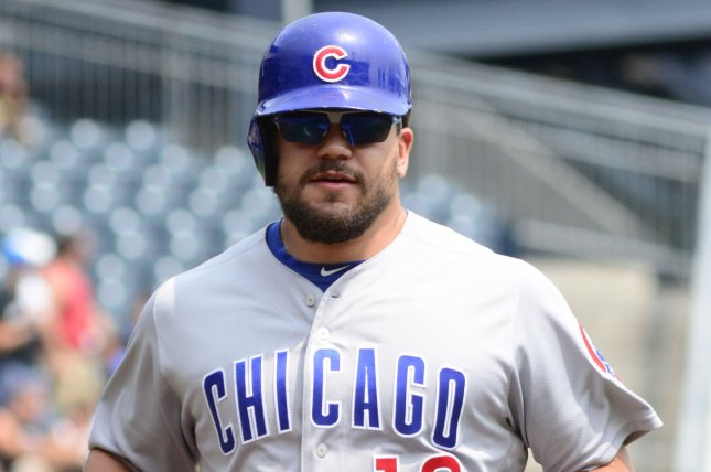 Chicago Cubs left fielder Kyle Schwarber (12) hit a two-run home run in a win against the Cincinnati Reds on Sunday in Chicago. Photo by Archie Carpenter/UPI